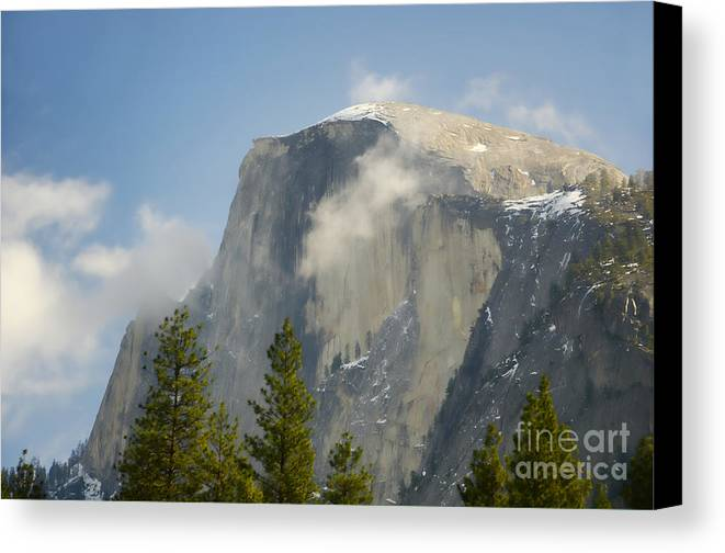 Half Dome Canvas Print featuring the photograph Clouds Around Half Dome by Jim and Emily Bush
