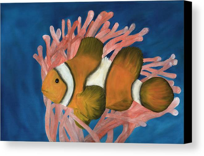 Fish Canvas Print featuring the painting Clownfish by Guy LeFebvre