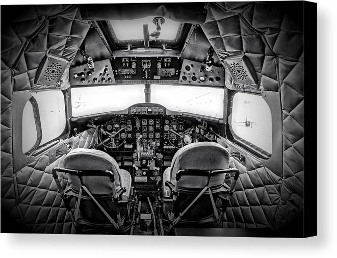 Restoration Canvas Print featuring the photograph cockpit of a DC3 Dakota by Paul Fell
