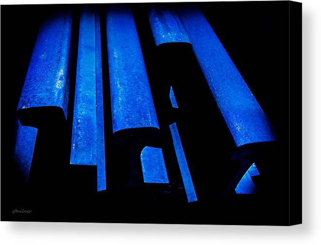 Abstracts Canvas Print featuring the photograph Cold Blue Steel by Steven Milner