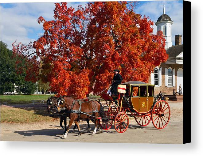 Williamsburg Canvas Print featuring the photograph Carriage In Autumn by Jerry Gammon