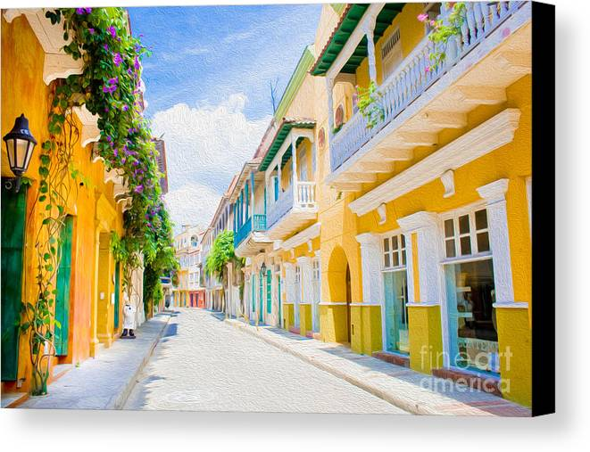 Cartagena Canvas Print featuring the digital art Colonial Street - Cartagena De Indias by Kenneth Montgomery