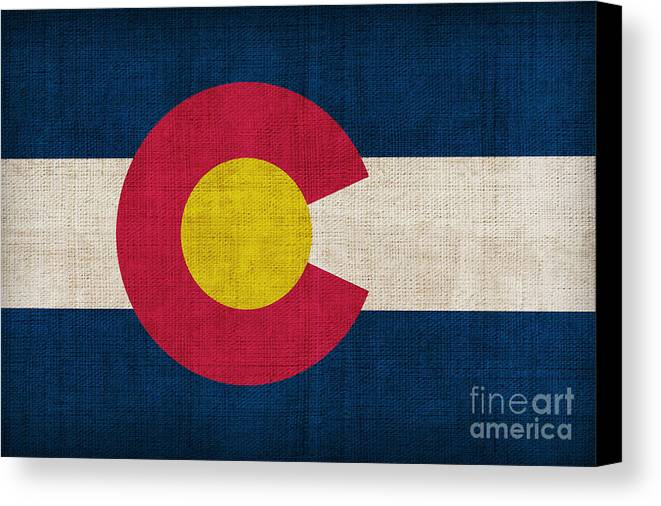 Colorado Canvas Print featuring the painting Colorado State Flag by Pixel Chimp