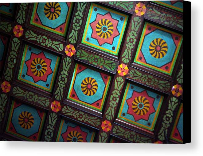 Ceiling Canvas Print featuring the photograph Colorful Church Ceiling by Rhonda Burger