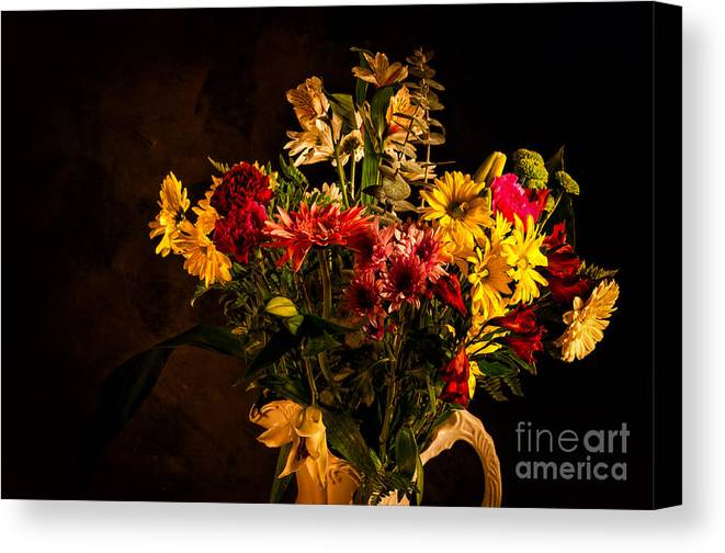 Colors Canvas Print featuring the photograph Colorful Cut Flowers In A Vase by Les Palenik