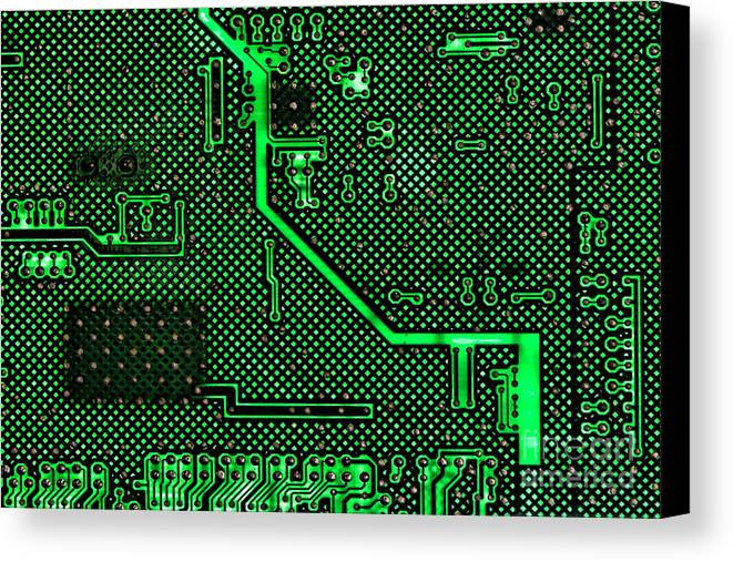 Computer Canvas Print featuring the photograph Computer Circuit Board by Olivier Le Queinec