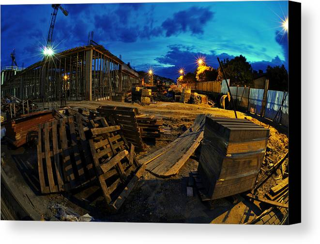 Apartment Canvas Print featuring the photograph Construction Site At Night by Jaroslaw Grudzinski