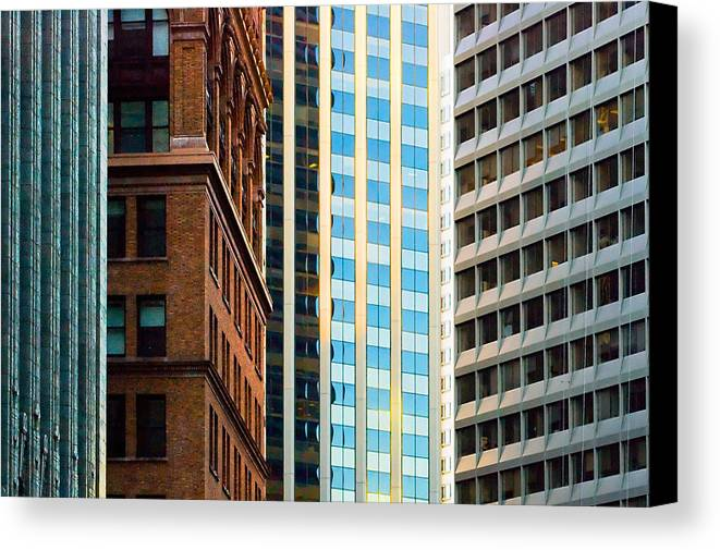 Buildings Canvas Print featuring the sculpture Convergence by Mick Burkey