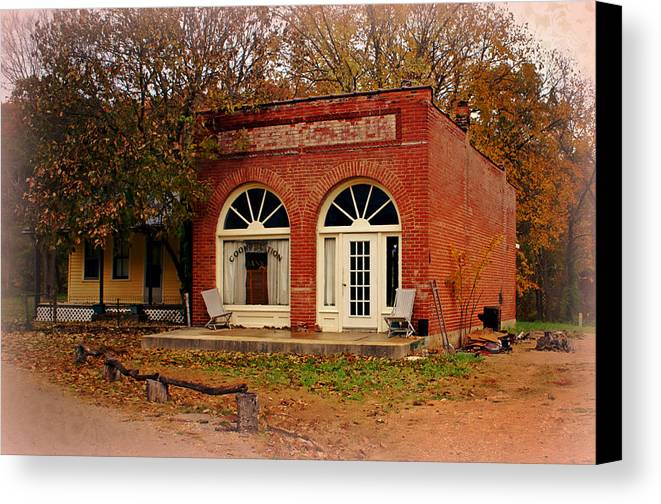 Cook Station Canvas Print featuring the photograph Cook Station Bank by Marty Koch