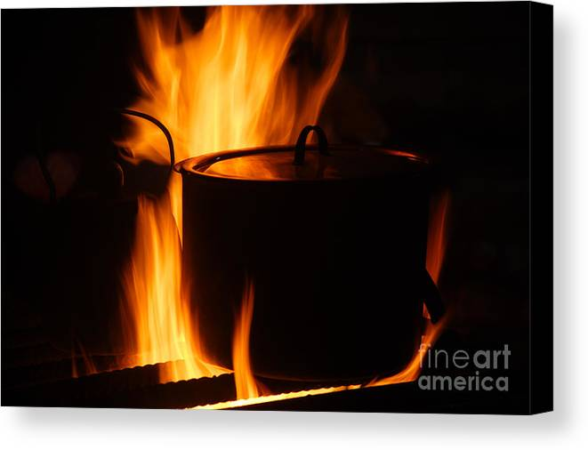 Sami Canvas Print featuring the photograph Cooking Pot On Fire Finland by Rosemary Calvert