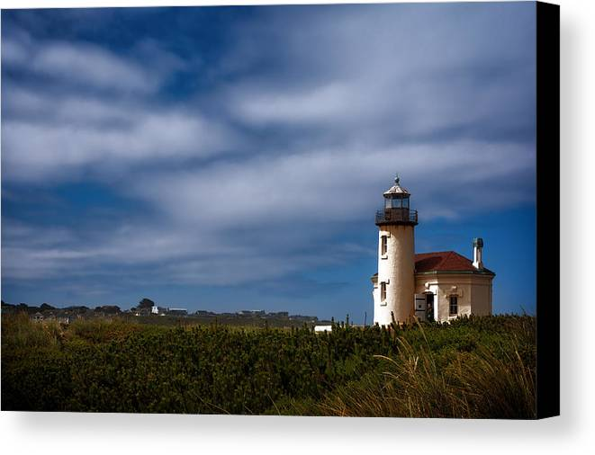 Joan Carroll Canvas Print featuring the photograph Coquille River Lighthouse by Joan Carroll