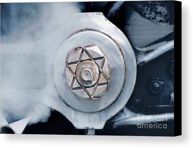 Cotter Pin Canvas Print featuring the photograph Cotter Pin For Driver Wheels On A Steam Locomotive by Wernher Krutein