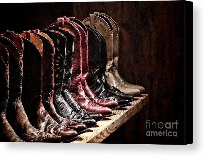 Cowgirl Boots Canvas Print featuring the photograph Cowgirl Boots Collection by Olivier Le Queinec