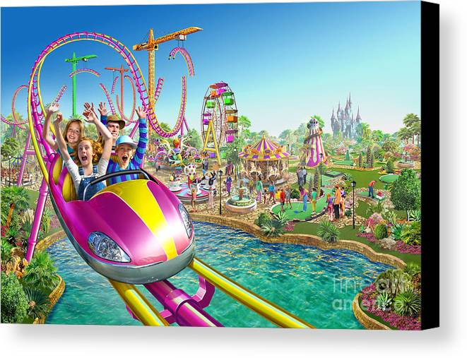 Adrian Chesterman Canvas Print featuring the digital art Crazy Coaster by Adrian Chesterman