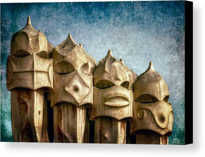 Joan Carroll Canvas Print featuring the photograph Creatures Of La Pedrera by Joan Carroll