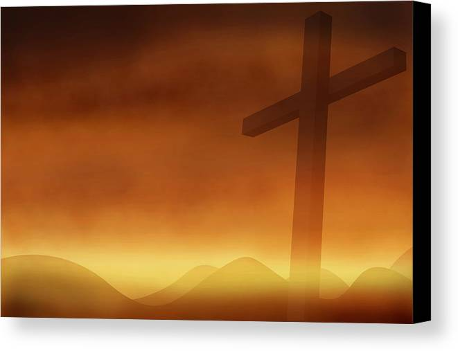 Abstract Canvas Print featuring the photograph Cross With The Sunset Background by Somkiet Chanumporn