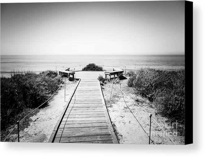 America Canvas Print featuring the photograph Crystal Cove Overlook Black And White Picture by Paul Velgos