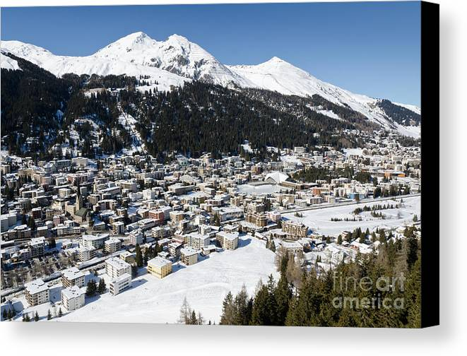 Davos Canvas Print featuring the photograph Davos Platz Mountains Parsenn And Town by Andy Smy