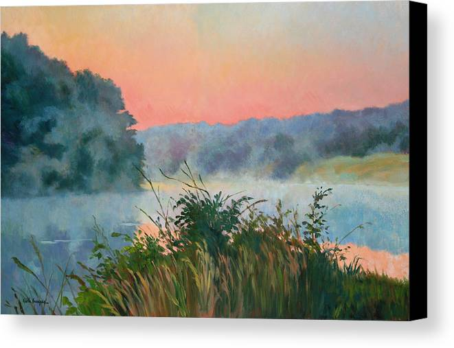 Impressionism Canvas Print featuring the painting Dawn Reflection by Keith Burgess