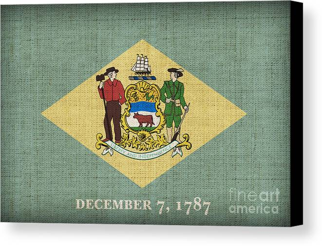 Delaware Canvas Print featuring the painting Delaware State Flag by Pixel Chimp