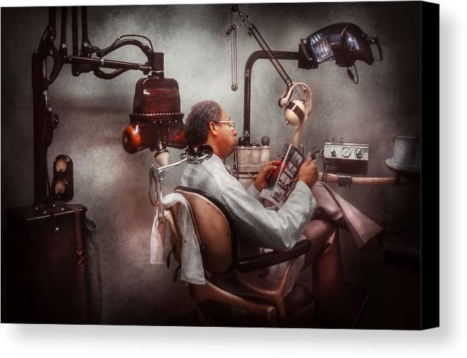 Doctor Canvas Print featuring the photograph Dentist - Waiting For The Dentist by Mike Savad