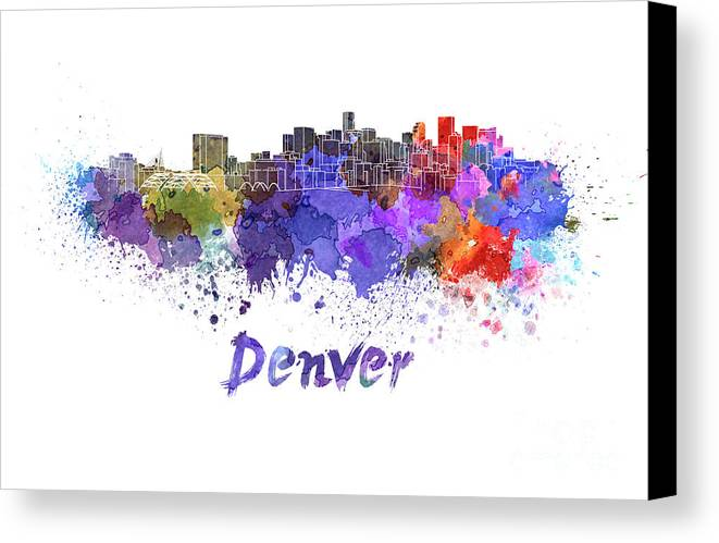Denver Canvas Print featuring the painting Denver Skyline In Watercolor by Pablo Romero