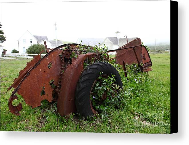 Pierce Point Ranch Canvas Print featuring the photograph Dilapidated Farm Tractor At The Old Pierce Point Ranch In Foggy Point Reyes California 5d28120 by Wingsdomain Art and Photography