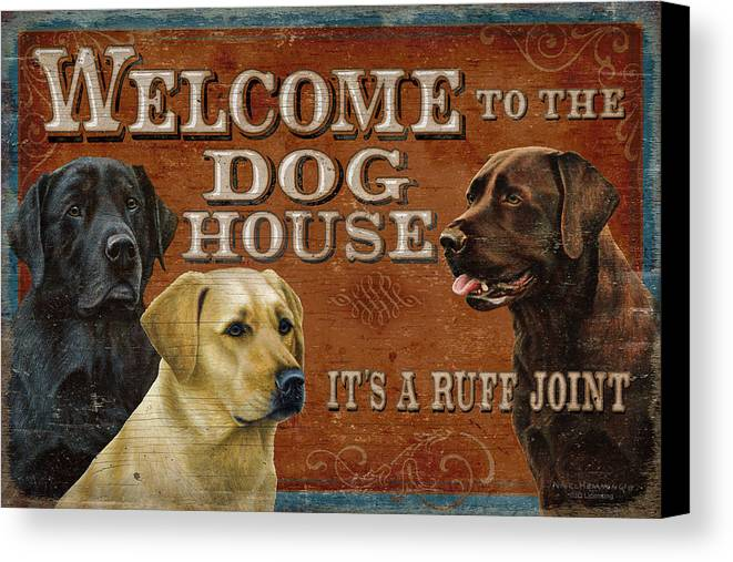 Nigel Hemming Canvas Print featuring the painting Dog House by JQ Licensing