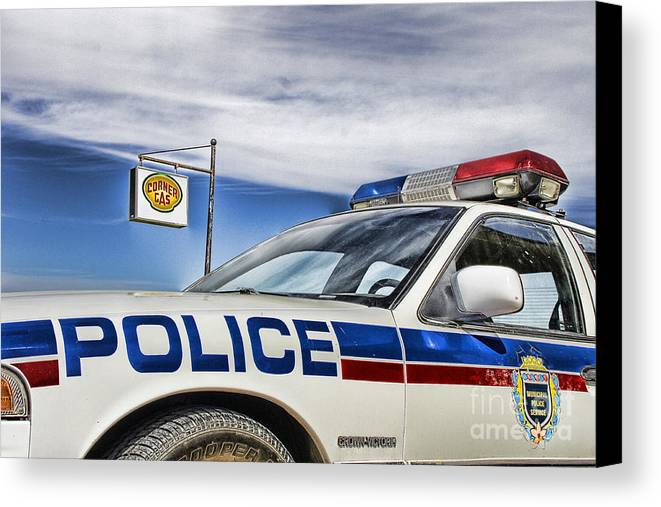 Corner Gas Canvas Print featuring the photograph Dog River Police Car by Nicholas Kokil