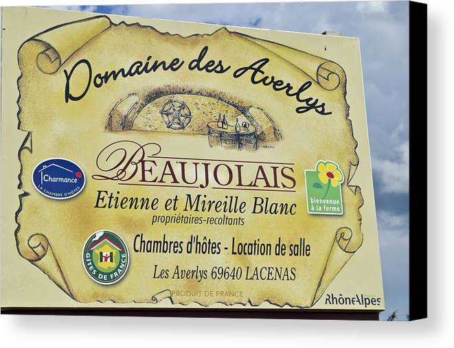 Beaujolais Canvas Print featuring the photograph Domaine Des Averlys by Allen Sheffield