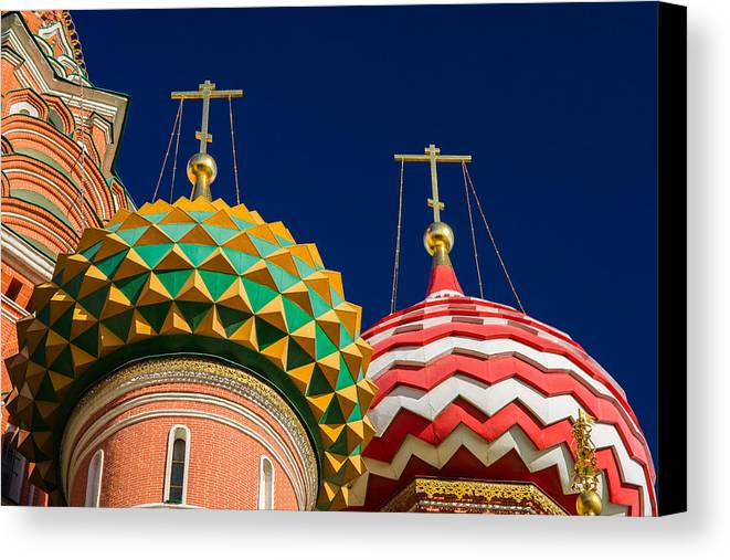 World Canvas Print featuring the photograph Domes Of Vasily The Blessed Cathedral - Feature 3 by Alexander Senin