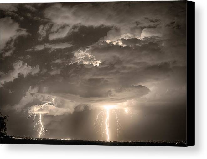 City Canvas Print featuring the photograph Double Lightning Strikes In Sepia Hdr by James BO Insogna
