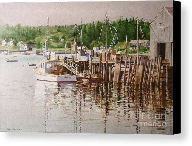 Harbor Canvas Print featuring the painting Downeast Reflections by Karol Wyckoff
