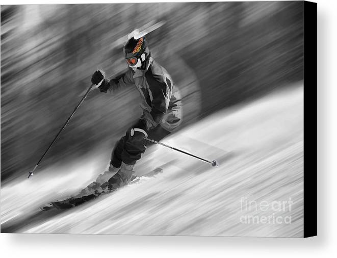 Snow Scenes Canvas Print featuring the photograph Downhill Skier by Dan Friend