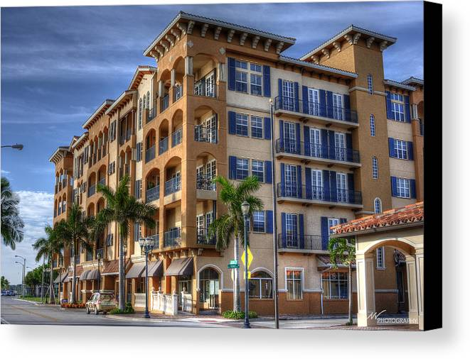 Canvas Print featuring the pyrography Downtown Condo by Mike Whittington