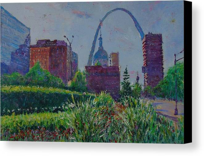 Cityscape Canvas Print featuring the painting Downtown St. Louis Garden by Horacio Prada