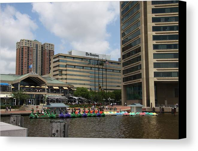 Boats Canvas Print featuring the photograph Dragonboats - Inner Harbor Baltimore by Christiane Schulze Art And Photography