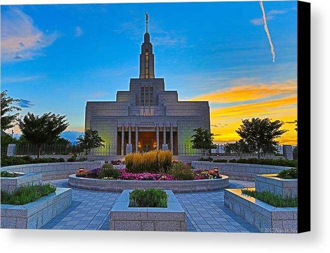 Lds Canvas Print featuring the photograph Draper Temple 1 by Alan Nix
