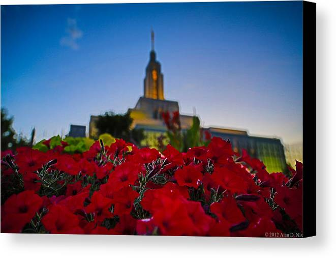 Lds Canvas Print featuring the photograph Draper Temple 4 by Alan Nix