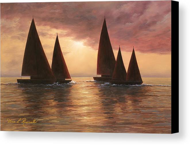 Sailboats Canvas Print featuring the painting Dream Sails by Diane Romanello