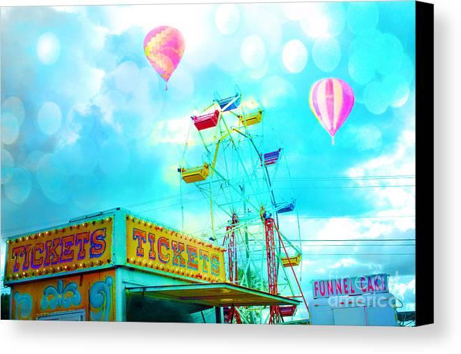 Aqua Teal Carnival Art Canvas Print featuring the photograph Dreamy Carnival Ferris Wheel Ticket Booth Hot Air Balloons Teal Aquamarine Blue Festival Fair Rides by Kathy Fornal
