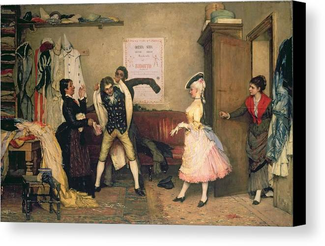 Fancy Dress Canvas Print featuring the painting Dressing For The Masquerade by Eugen von Blaas