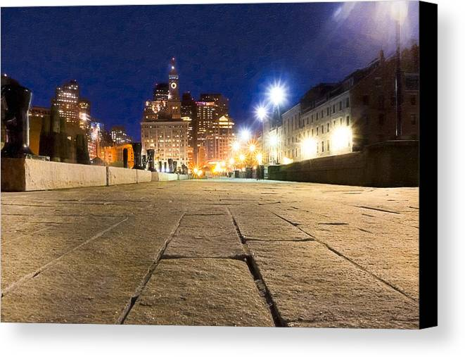 Boston Canvas Print featuring the photograph Dusk Falls On Boston's Long Wharf by Mark E Tisdale