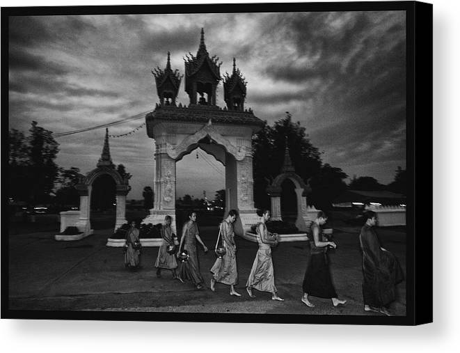 Thailand Canvas Print featuring the photograph Early Morning Monks by David Longstreath