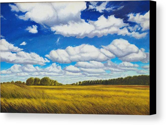 Wheat Canvas Print featuring the painting Early Summer Clouds by Leonard Heid