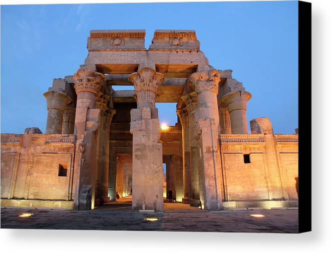 Africa Canvas Print featuring the photograph Egypt, Kom Ombo Sunset At The Egyptian by Emily Wilson