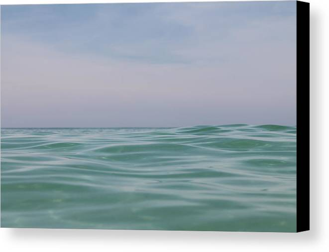 Print Of  Emerald Seascape Canvas Print featuring the photograph Emerald Seascape by Esther Hernandez