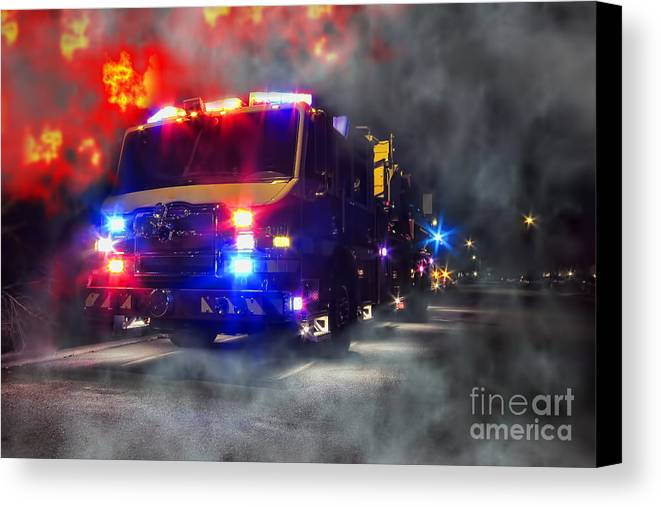 Fire Canvas Print featuring the photograph Emergency by Olivier Le Queinec