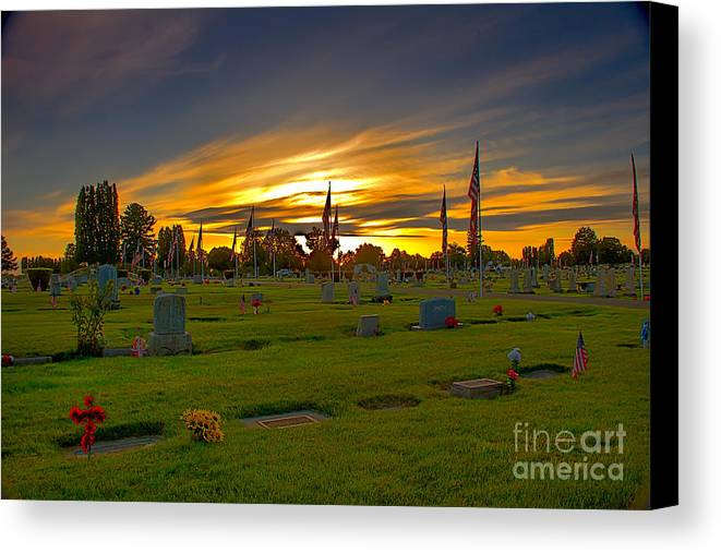Gem County Canvas Print featuring the photograph Emmett Cemetery by Robert Bales