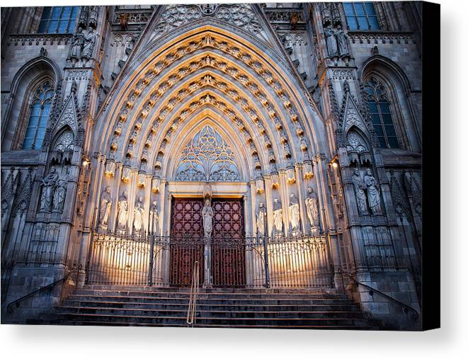 Barcelona Canvas Print featuring the photograph Entrance To The Barcelona Cathedral At Night by Artur Bogacki